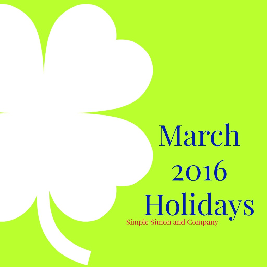 March 2016 Holidays