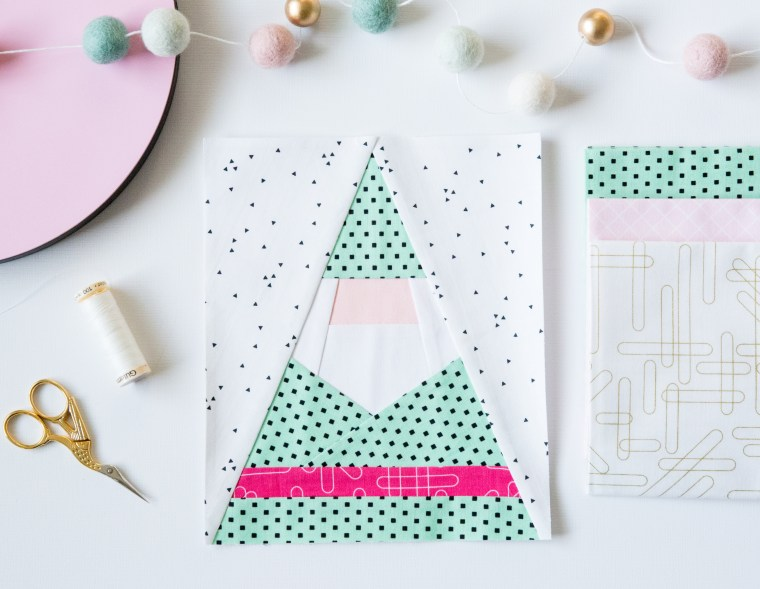 Gnome Santa Paper Piecing Quilt Block