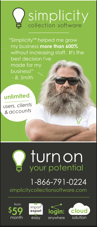 Simplicity Debt Collection Software Advertisement - image is of a tough looking man with long grey hair and a beard, wearing sunglasses and standing with his arms across his chest as part of an ad for Simplicity.