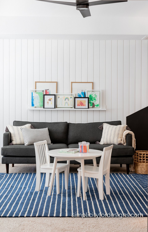 playroom reveal - vertical shiplap on walls