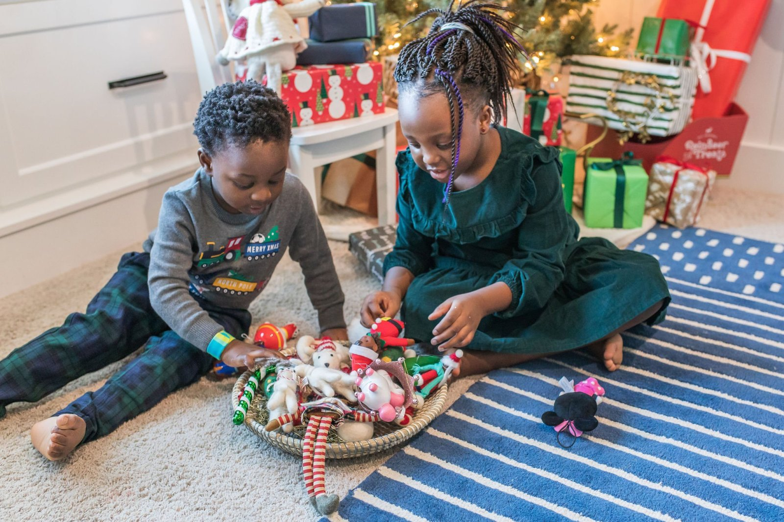 kids-friendly Christmas ornaments; felt ornaments, shatterproof ornaments,  plastic ornaments.