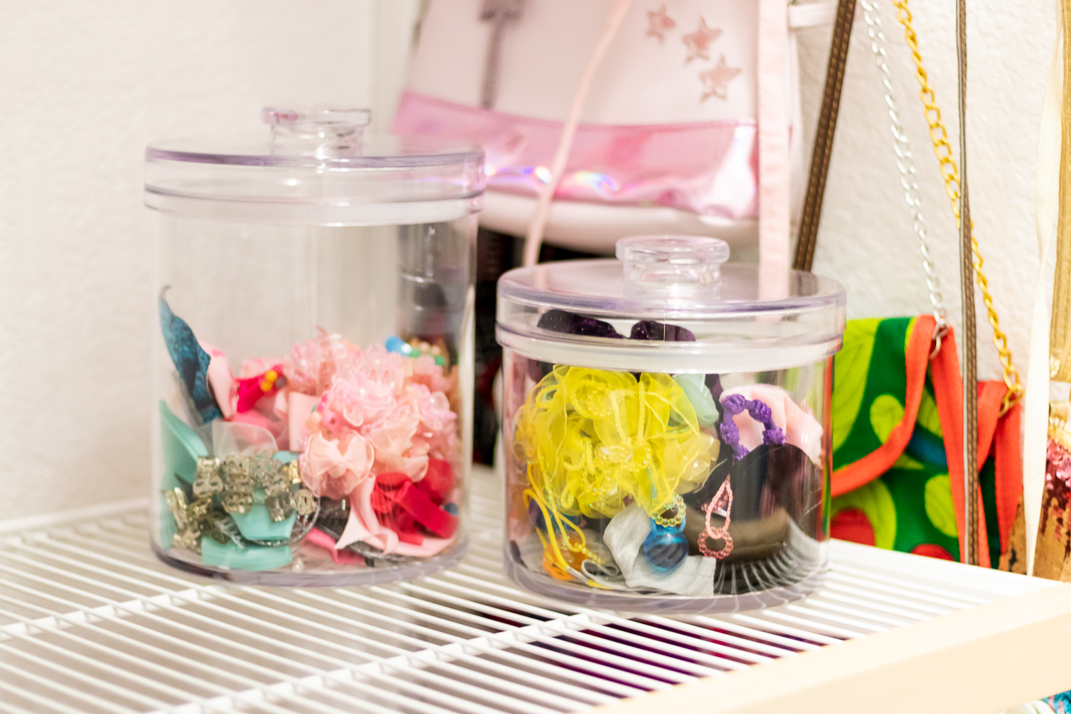 hair accessorizes in clear canisters
