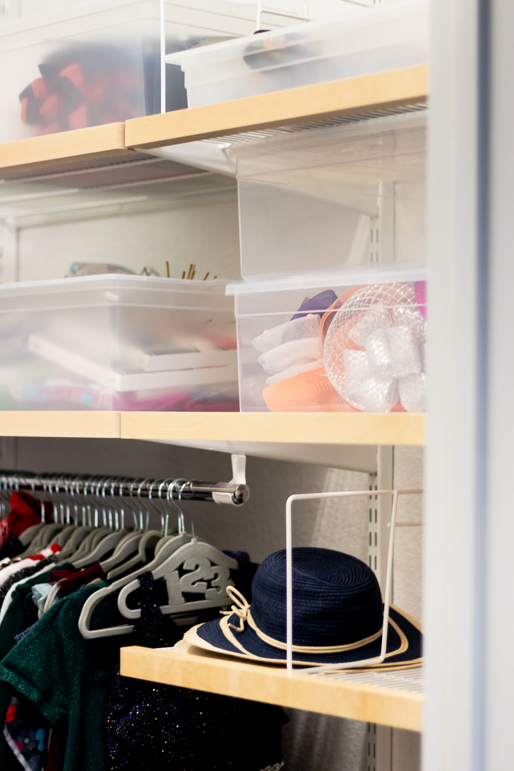 clear storage boxes - closet organization ideas