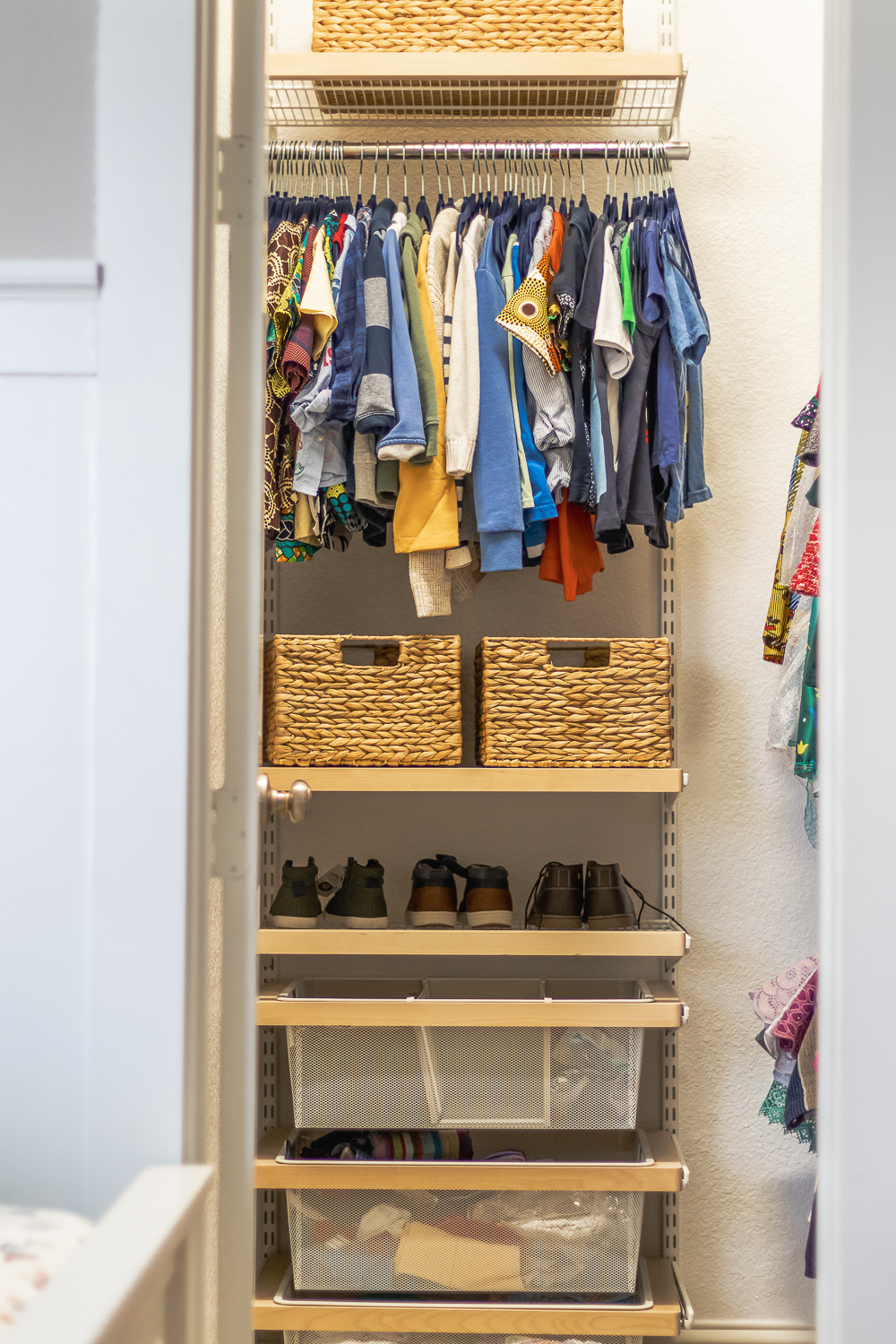 kids closet ideas - open shelves and pull out drawers with dividers