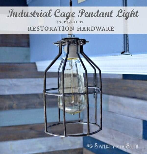 Make an industrial cage pendant light inspired by Restoration Hardware.