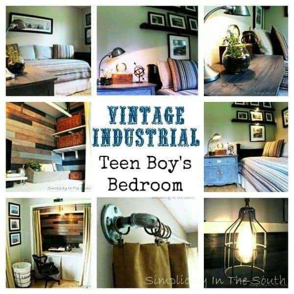 Vintage Industrial Teen Boy\'s Bedroom and Closet/Office Reveal