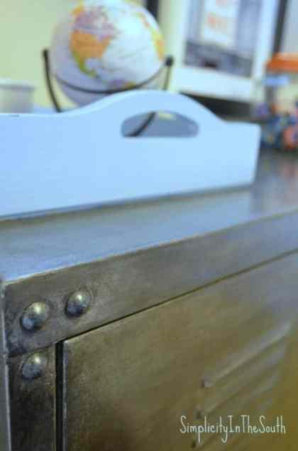 Faux aged steel Ikea cabinet.