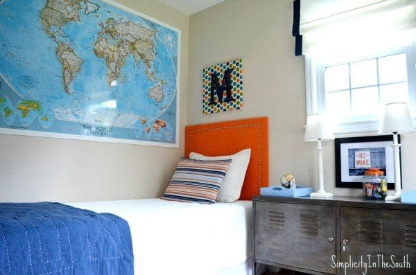 Laminated world map. Boy's shared bedroom by Simplicity In The South.