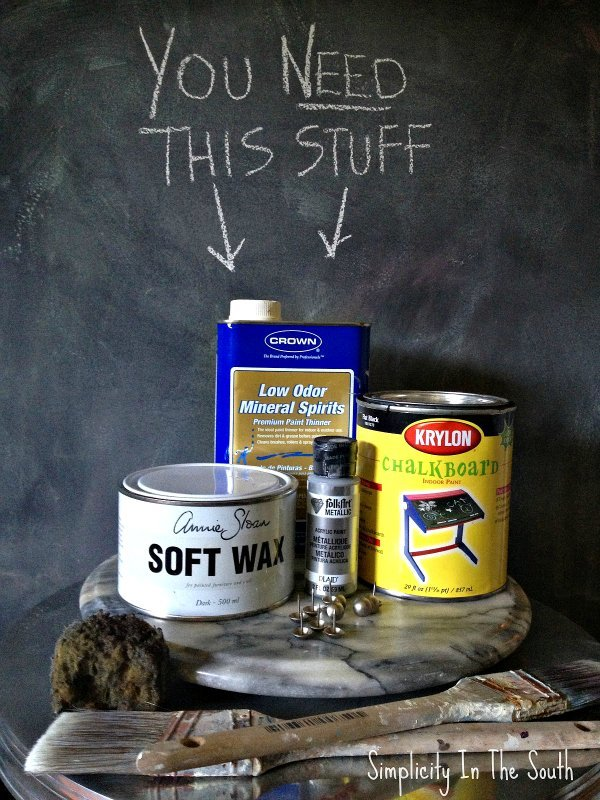Supplies for a faux aged steel paint finish
