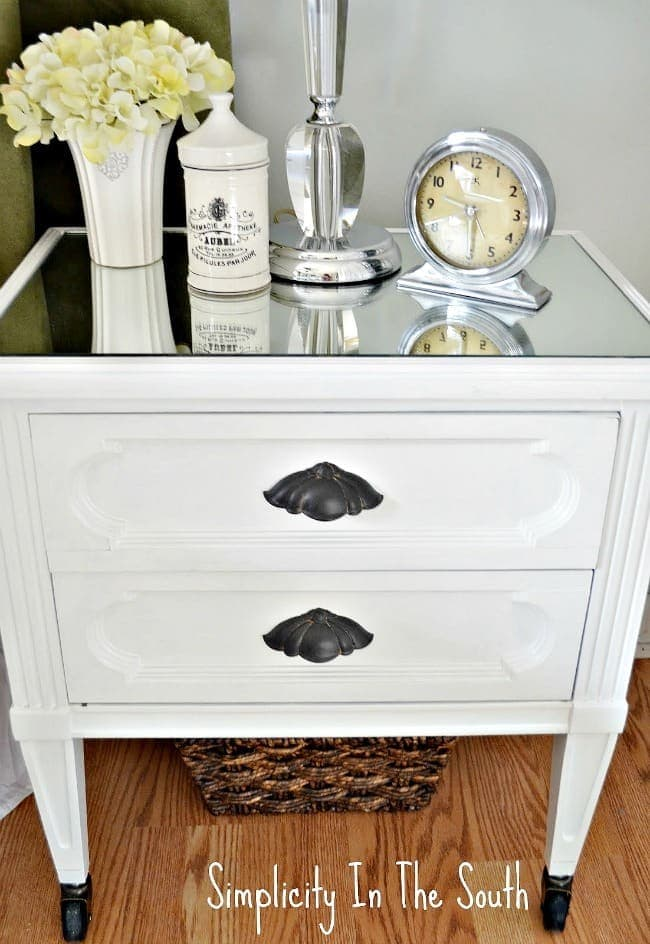 how to makeover a nightstand table by adding mirror