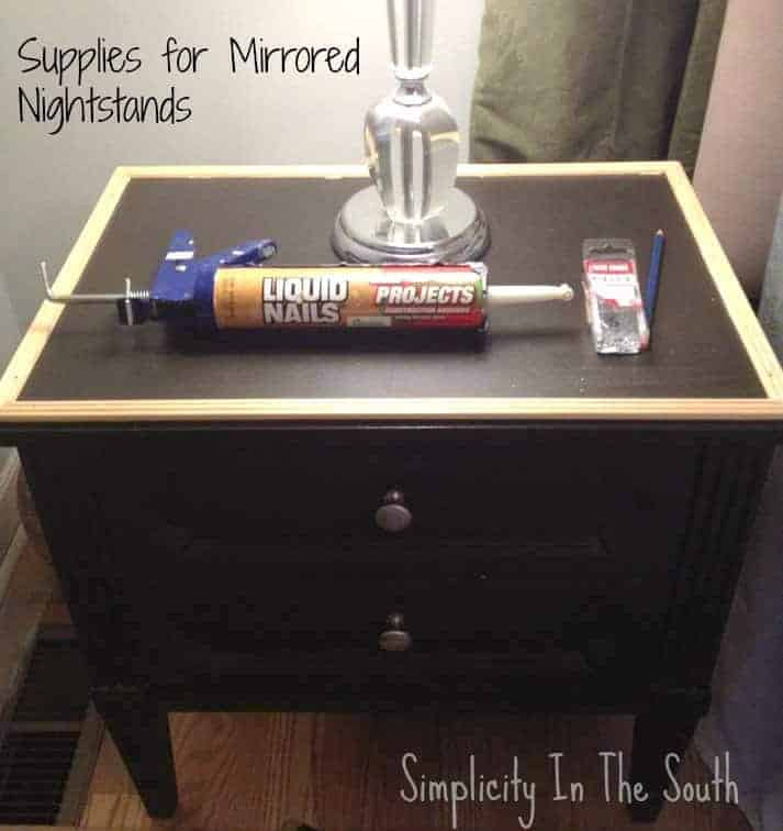 supplies needed to mirror the tops of nightstands