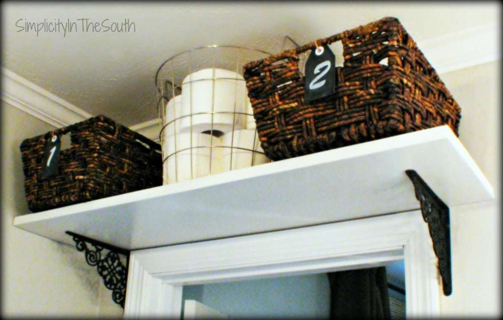 shelf and baskets over the door