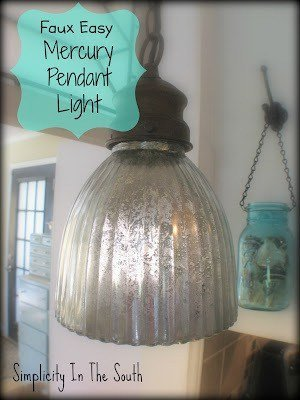 Faux easy mercury pendant light using Kryon's Looking Glass Spray Paint
