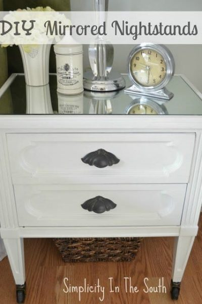Looking for an idea on how to makeover your nightstands? This DIY project gives them a totally new look by painting them white, adding mirrors, trim molding, and caster wheels.