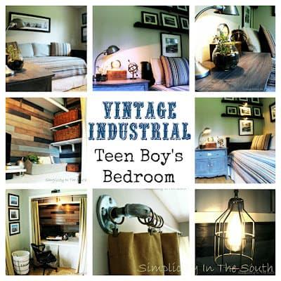 Vintage Industrial Teen Boy's Bedroom and Closet/Office Reveal