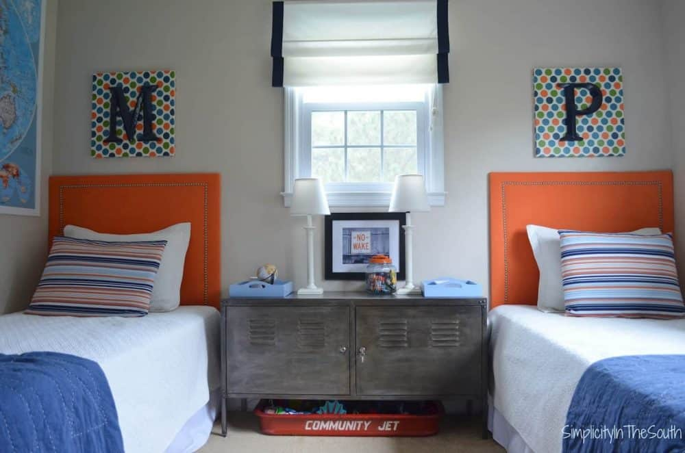 shared brother's blue and orange bedroom
