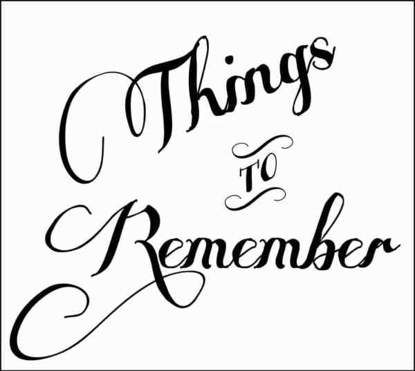 things to remember printable