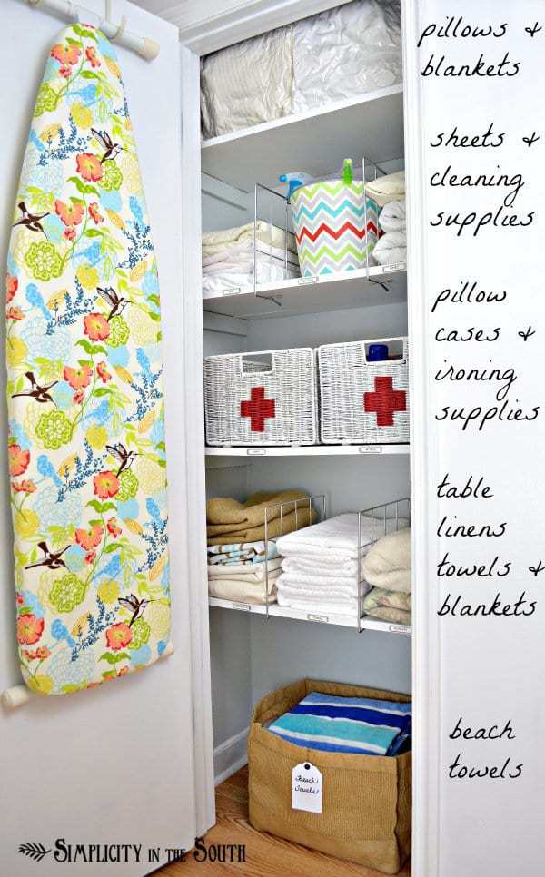 Ideas for an organized linen closet- Simplicity In The South.