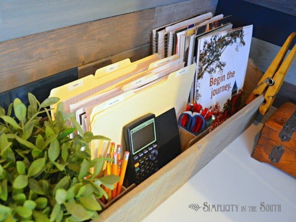Organized office in a closet. Vintage carpenter's box for office organization.