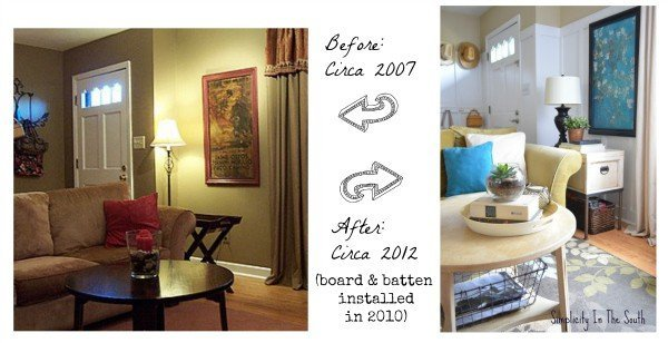 before and after of living room with board and batten