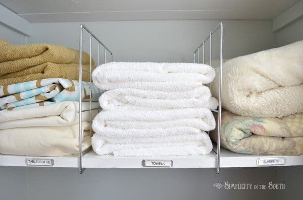 linen closet organization ideas. labeling shelves