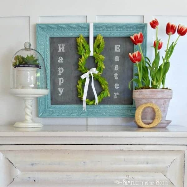 Spring or Easter display and a bunny boxwood wreath