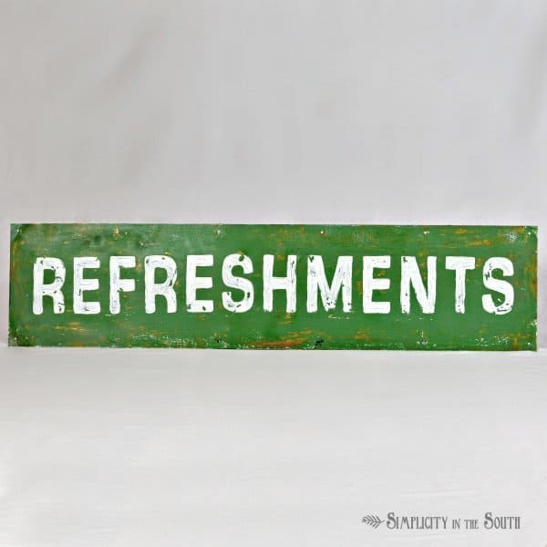 refreshments sign- Simplicity in the South