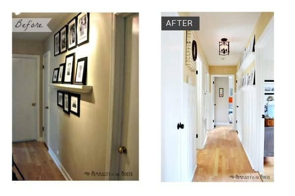 Before and after hallway:Need ideas for decorating your outdated hallway on a budget? This hallway was given board and batten wainscoting, DIY gallery wall shelves, new carriage style lighting, a DIY decorative air return cover and grasscloth