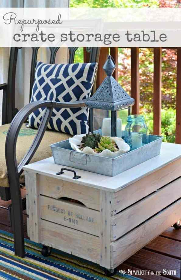 wooden shipping crate table