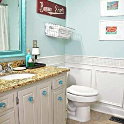 Turquoise and red bathroom with wainscoting reveal ideas