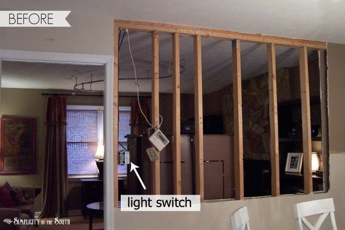 Knocking down a load bearing wall: See the dramatic difference you can make by opening up a kitchen to a living room by knocking down a load bearing wall. We gained a new breakfast bar and so much light!