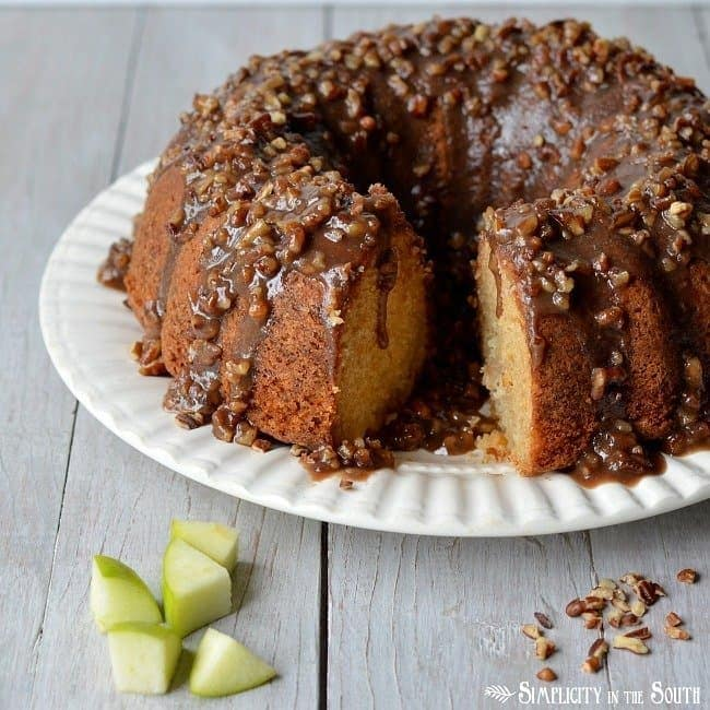 Amazing Apple Dapple Cake with a caramel-pecan sauce