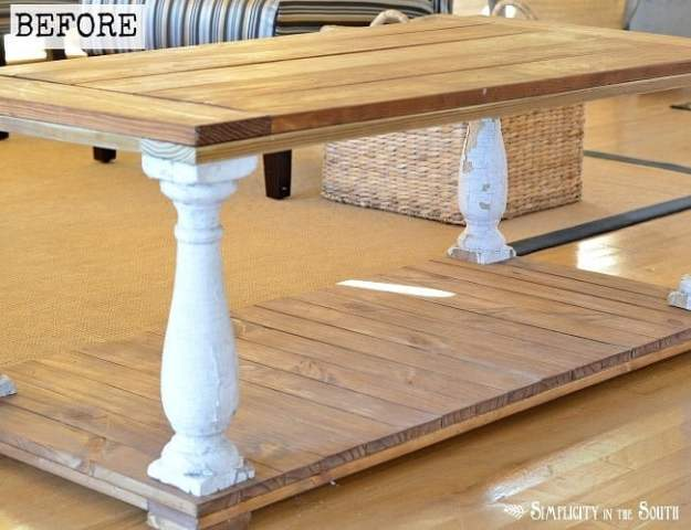 Before picture of baluster coffee table- How to distress furniture using milk paint and a wet sanding technique