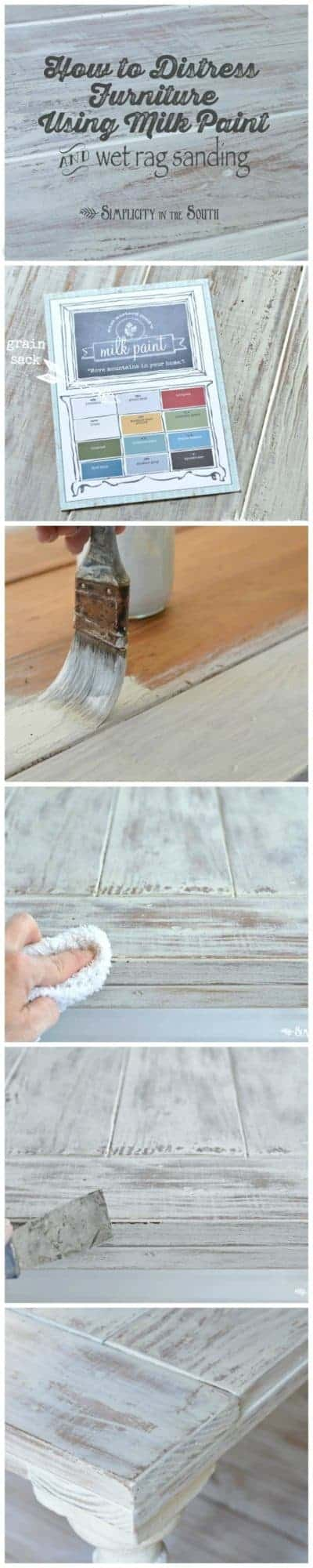How to distress wood furniture using Miss Mustard Seed's Milk Paint and wet rag sanding to get a crackled limewashed effect