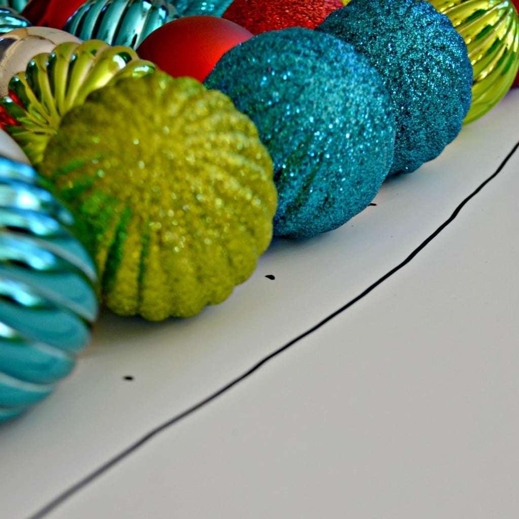 DIY Christmas ornament wreath shaped like a Christmas tree