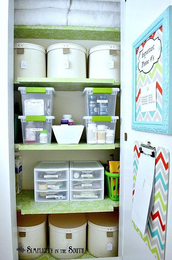 Hall closet organization.
