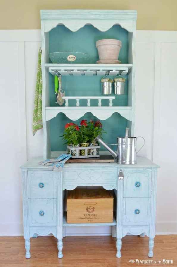 Convert a desk and hutch into a potting bench