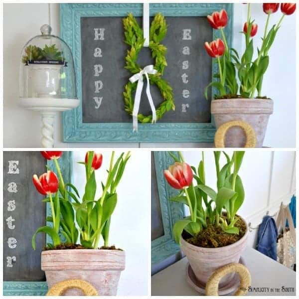 Easter vignette. How to age flower pots.
