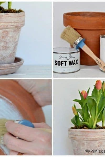 How to age flower pots with Annie Sloan Chalk Paint and Wax.