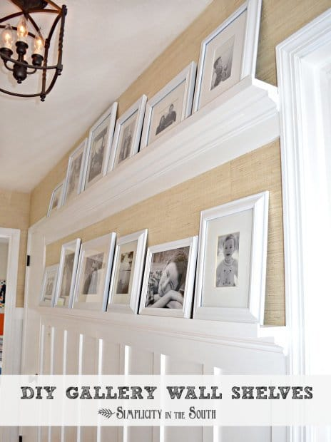 DIY gallery wall shelves tutorial: Do you like to display pictures in your home but like to change them out periodically? This idea is easy to build for even the beginner woodworker.