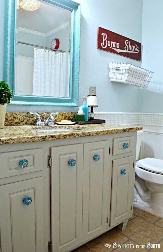 vintage inspired guest bathroom makeover
