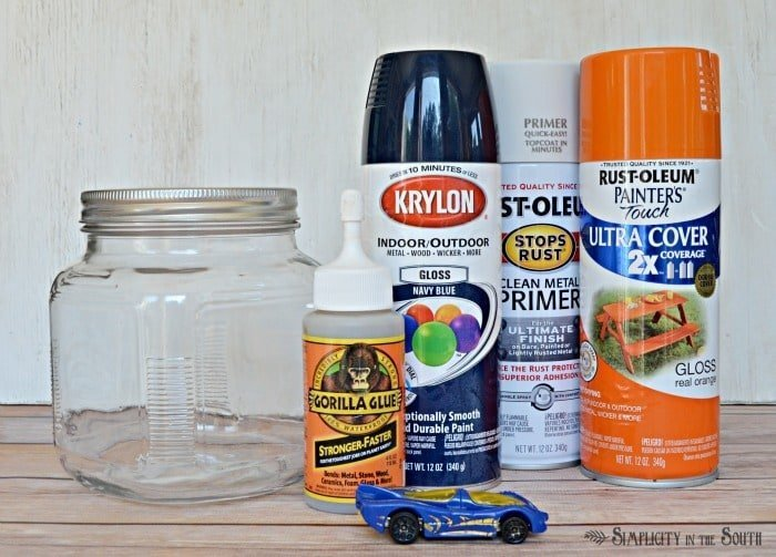 Supplies to make a Hot Wheels car jar