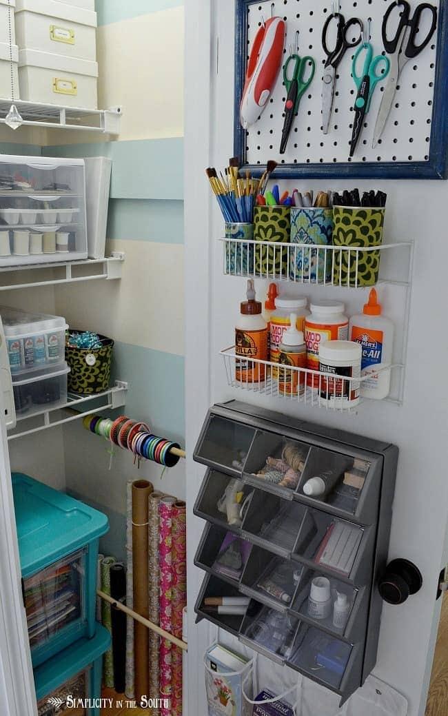 Craft supply organization for a small closet