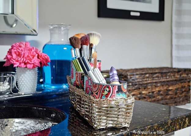 Easy and inexpensive makeup organization using fabric covered cans