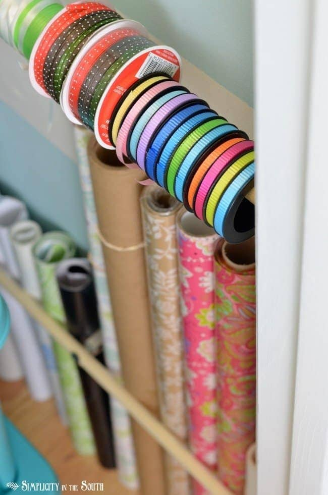 Use dowel rods and curtain rod brackets for wrapping supplies. Craft closet organization tips: Part of the small home, big ideas series, find out how to organize your craft supplies