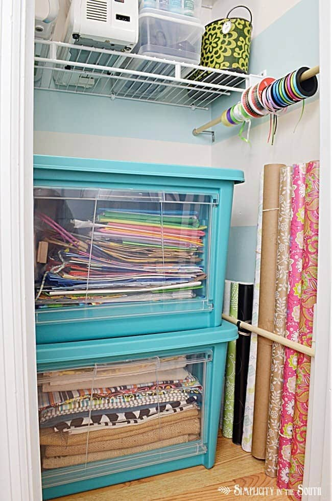 Wrapping paper and fabric storage- craft closet organization ideas