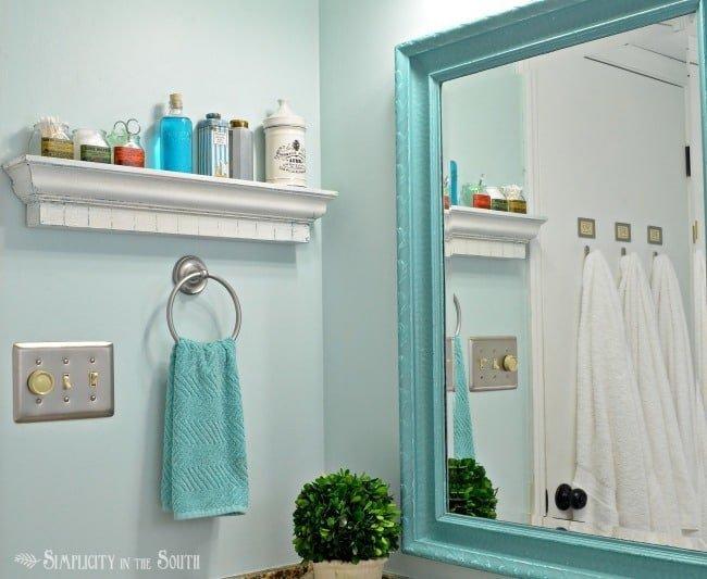 Bathroom shelf with crackle paint effect