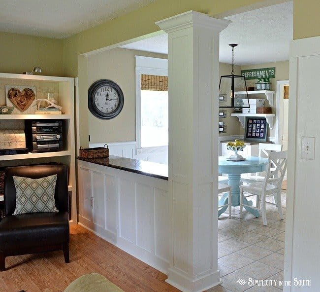 Living room opened up to eat in kitchen: See the dramatic difference you can make by opening up a kitchen to a living room by knocking down a load bearing wall. We gained a new breakfast bar and so much light!