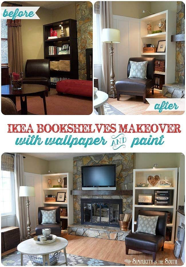Makeover Ikea bookshelves with wallpaper and paint