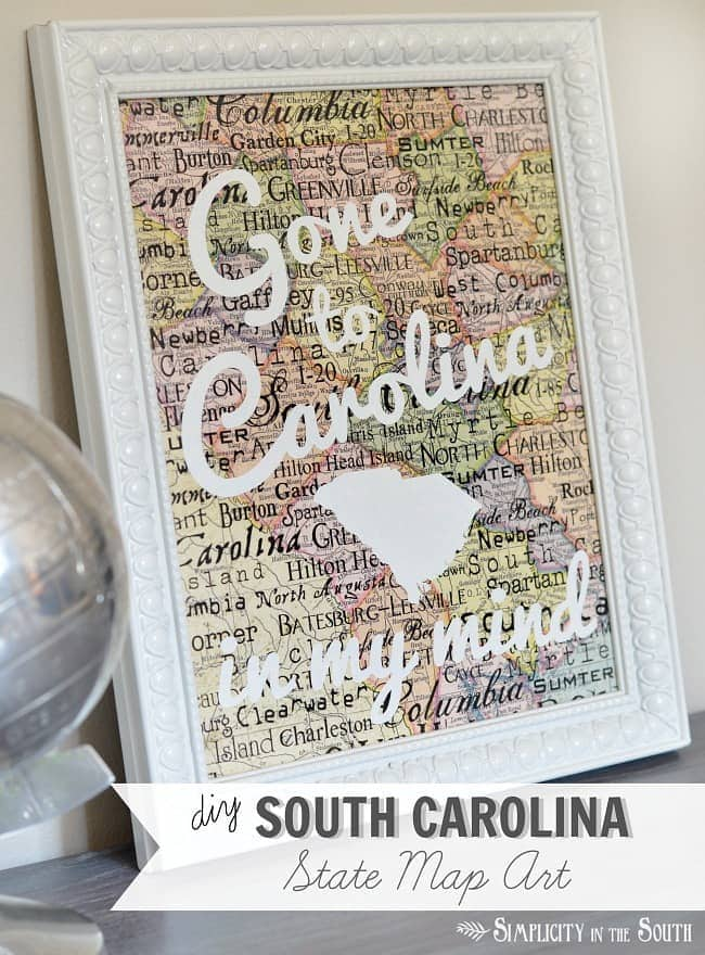 DIY South Carolina State Map Art- Gone to Carolina in My Mind